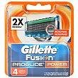 Recambio de cuchillas de afeitado Power Blíster 4 u Gillette Fusion Proglide