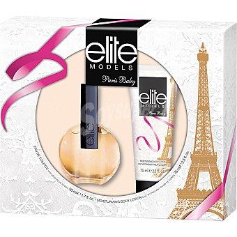 ELITE Models Paris Baby eau de toilette femenina + body loción tubo 75 ml Spray 50 ml