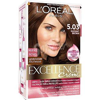Excellence L'Oréal Paris Tinte Radiant Brown castaño nº 5.03 crema color triple cuidado caja 1 unidad con Pro-keratina + Ceramida + Colágeno Caja 1 unidad