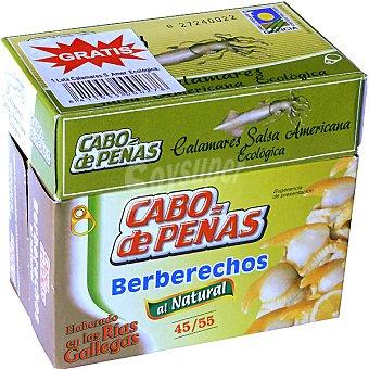 Cabo de Peñas Berberechos de las rías gallegas al natural 45-55 piezas pack 2 latas 63 g neto escurrido + gratis calamares en salsa americana ecológica lata 65 g neto escurrido Pack 2 latas 63 g