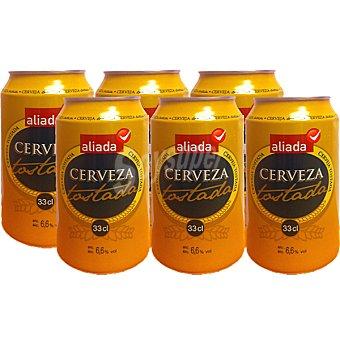 Aliada Cerveza rubia nacional tostada Pack 6 latas 33 cl