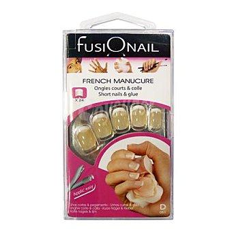 Fusionail Kit 24 uñas postizas cortas color carne Caja 24 unid