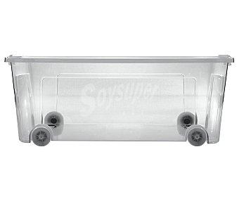Actuel Caja de ordenación multiúsos transparente con ruedas y tapa, de capacidad auchan 29,5 litros