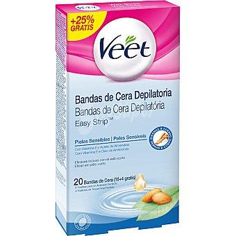 VEET bandas de cera depilatoria piel sensible con vitamina E y aceite de almendras 16 + 4 gratis caja 20 unidades