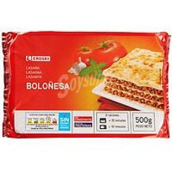 Eroski Lasaña a la boloñesa Bandeja 500 g