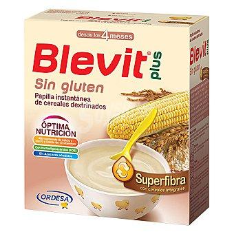 Blevit Plus Superfibra papilla instantánea de cereales dextrinados sin gluten desde los 4 meses para regular el tránsito intestinal con cereales integrales e inulina y FOS Caja 600 g