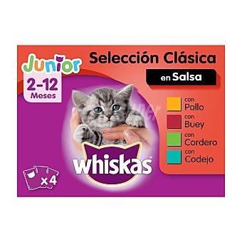 Whiskas Comida húmeda selección carnes en gelatina para gatos junior Whiskas Pack de 4 unidades de 100 g