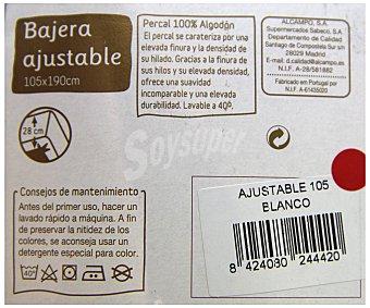 AUCHAN Sábana bajera de percal, color blanco, 105 centímetros 1 Unidad