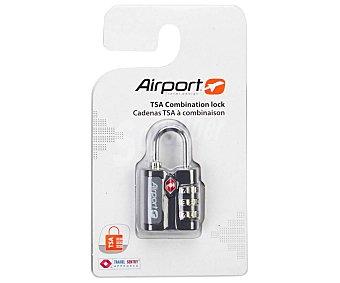 AIRPORT Candado de latón, color negro, 3 discos de combinación reprogramables y cierre TSA alcampo
