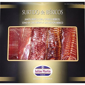 JULIAN MARTIN Surtido de ibéricos jamón chorizo salchichón y lomo en lonchas Envase 300 g