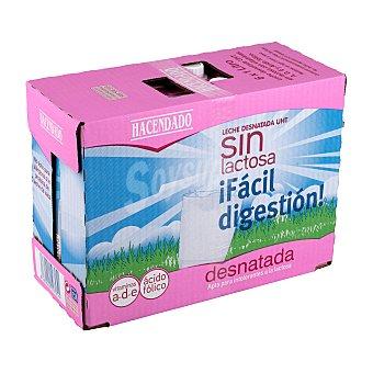 Hacendado Leche desnatada sin lactosa Brick pack 6 x 1 l - 6 l
