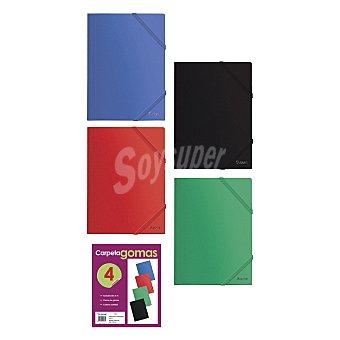 Lote Carpetas Gomas Planas con Solapas Colores Surtidos 4 ud