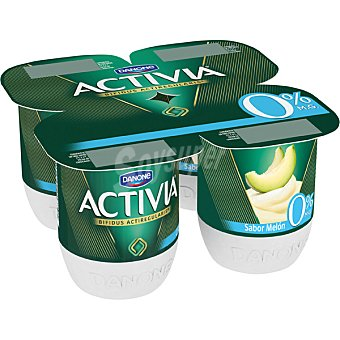 Activia Danone Yogur desantado sabor melón 0% pack 4 unidades 120 g
