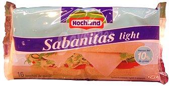 HOCHLAND Sabanitas Queso lonchas fundir light  Paquete 300 g (16 unidades)