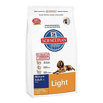 HILL'S SCIENCE PLAN Pienso para perros Senior +7 Hills Science Plan Light pollo 12 kg 12 kg