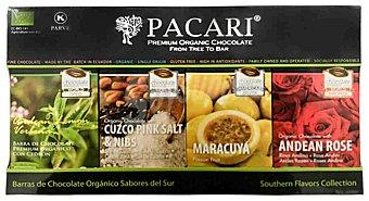 Pacari Chocolate negro orgánico Sabores del Sur: cedrón, sal rosa, maracuyá y rosa andina 4uds 200 g 4uds 200 g