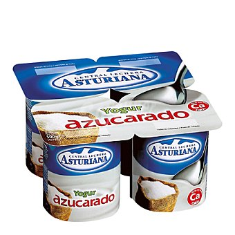Central Lechera Asturiana Yogur natural azucarado Pack de 4x125 g