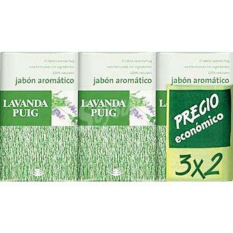 LAVANDA Puig pastilla de jabón aromático pack económico 3 x 2 unds. 125 g 3 x 2 unds.