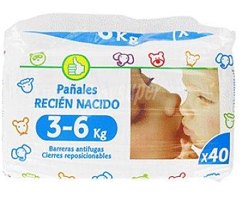 Productos Económicos Alcampo Pañales para Niños de 3 a 6 Kilogramos 40 Unidades