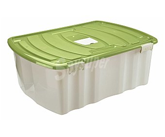 MONDEX Caja de ordenación con 6 ruedas, capacidad de 96 litros y Fabricada en plástico blanco transparente con tapa amarilla 1 Unidad