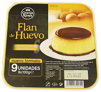 Granja rinya Flan huevo baño maria 9 unidades de 100 g