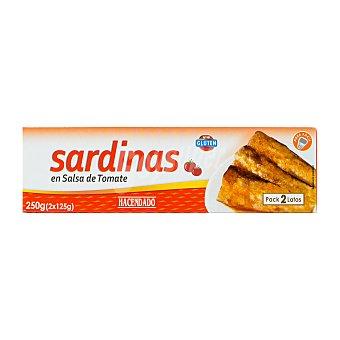 Hacendado Sardina tomate Lata pack 2 x 125 g - 250 g escurrido 164 g