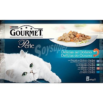 Gourmet Purina Comida para gato Perle delicias del océano selección de pescados 4 unidades bolsa 85 g 4 bolsas de 85 g