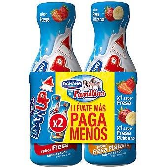 Danone Yogur líquido sabor fresa + yogur líquido sabor fresa-plátano Dan Up Pack 2 envase 600 g