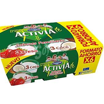 Activia Danone Yogur 3 sabor fresa + 3 yogur sabor coco Pack 6 unidades 125 g
