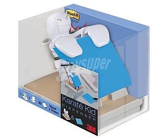 3M Dispensador con forma de karateka de color blanco de notas adhesivas, que incluye 90 notas de color azul de 76x76 milímetros 1 unidad