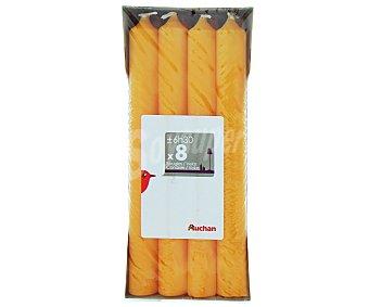 AUCHAN Velas decorativas de 180x19 milímetros, de color naranja Pack de 8 Unidades