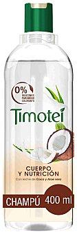 Timotei Champú cuerpo y nutrición con leche de coco y aloe vera para cabello fino y seco Frasco 400 ml