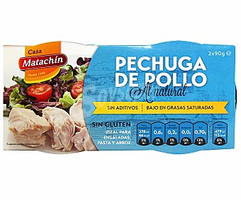 Matachín Pechuga de pollo al natural Pack 2 u x 58 g (116 g neto escurrido)