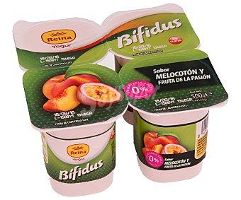 Postres Reina Bífidus desnatado (0% materia grasa), sin gluten y con sabor a melocotón y fruta de la pasión 4 x 125 g