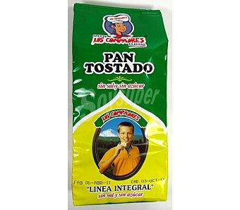 LOS COMPADRES pan tostado integral sin sal y sin azúcar  paquete 300 g