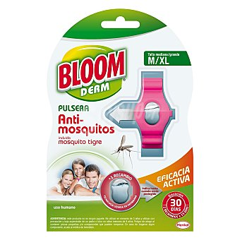Bloom Pulsera repelente de mosquitos comunes y tigre, talla M/XL de 9 a 99 años + 2 pastillas Pulsera + 2 pastillas