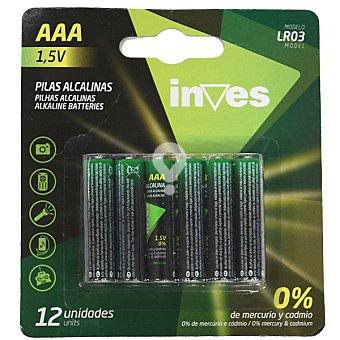 Pila alcalina AAA(LR03) 1,5 voltios 0% mercurio y cadmio blister 12 unidades