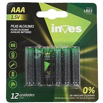 Inves Pila alcalina AAA(LR03) 1,5 voltios 0% mercurio y cadmio blister 12 unidades Blister 12 unidades