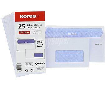 Kores 25 sobres tamaño 110x220mm peso de /m², ventana transparente en el frontal y color blanco kores 90 g