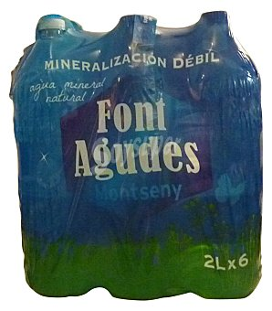 FONT AGUDES Agua mineral natural Pack 6 x 2 litros
