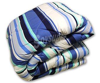 AUCHAN Relleno nórdico acrilíco para cama de 90 centímetros, estampado a rayas azul, densidad de 200 Gramos 1 Unidad