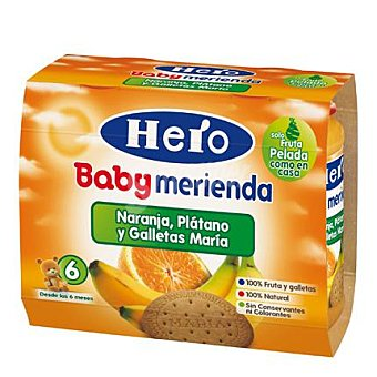 Hero Baby Tarrito platano naranja galleta a partir 6 meses Pack 2 x 200 g - 400 g