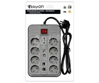 DAYRON Base 8 tomas + Mulitmedia, con filtro sobretensiones, para Teléfono, Televisión y Fax 1 Unidad