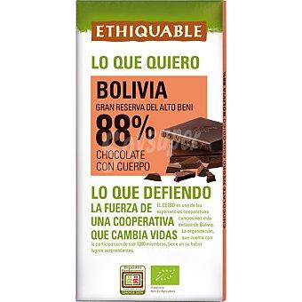 Ethiquable Chocolate negro 88% cacao de Perú ecológico y de comercio justo tableta 100 g