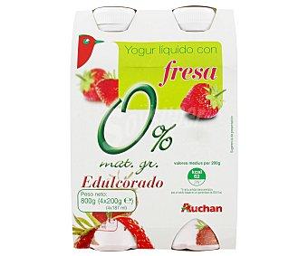 Auchan Yogur líquido desnatado con fresa Pack de 4 uds