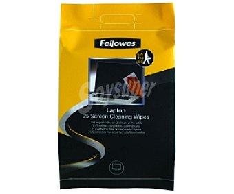Fellowes Bolsa 25 toallitas Prehumedecidas para limpiar cualquier pantalla de ordenador, escáner, pda, filtros, monitores y pantallas de los portátiles
