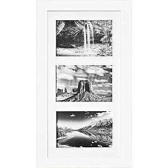 HERGON Marco Múltiple 3 ventanas de 20 x 40 cm en color blanco