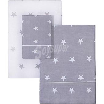 Unit Estrelladas juego de sabanas de topitos en color gris y blanco para cama de 105 cm