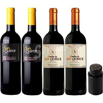 Abadía de San Quirce vino tinto roble + vino tinto crianza 2 botellas 75 cl con regalo de bomba de vacío 2 botellas de 75 cl