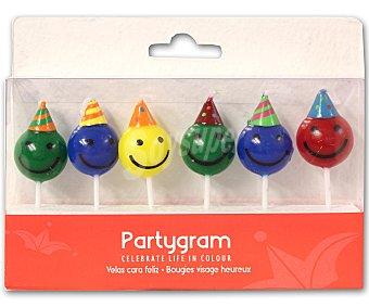 PARTYGRAM Bolsa de 6 velas con cara feliz 1 Unidad